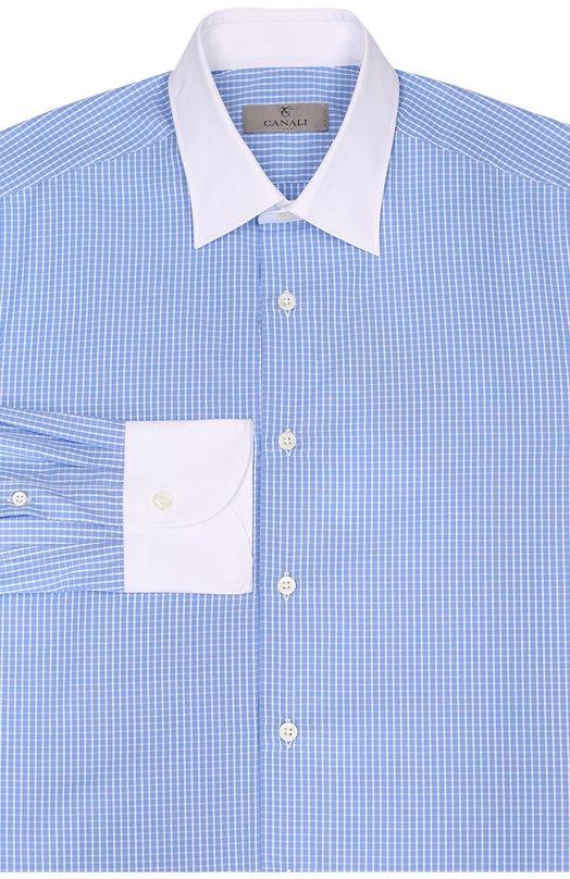 Хлопковая сорочка с контрастным воротником и манжетами CanaliРубашки<br>В осенне-зимнюю коллекцию 2016 года вошла рубашка из гладкого голубого хлопка в клетку. Классический воротник и итальянские манжеты длинных рукавов выполнены из однотонной ткани белого цвета. Нам нравится сочетать с голубым пуловером, темно-синими джинсами и черными дерби.<br><br>Российский размер RU: 42<br>Пол: Мужской<br>Возраст: Взрослый<br>Размер производителя vendor: 42<br>Материал: Хлопок: 100%;<br>Цвет: Голубой