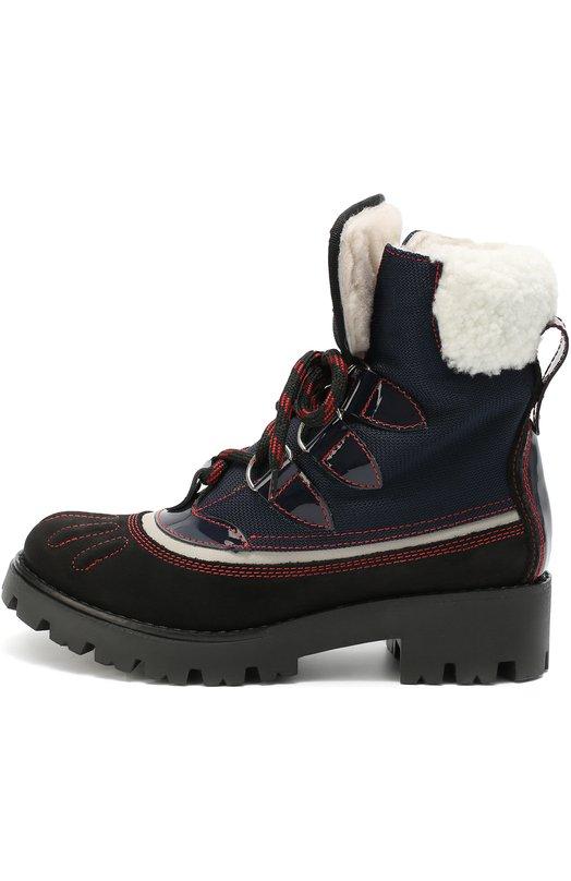 Комбинированные ботинки с внутренней отделкой из натуральной овчины Dsquared2 45412/36-40