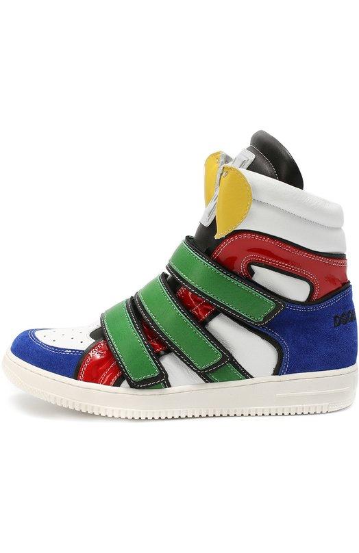 Высокие кожаные кроссовки с застежками велькро Dsquared2Спортивная обувь<br>Разноцветные высокие кроссовки сшиты из матовой и лакированной кожи, а также из мягкой замши. Модель из коллекции сезона осень-зима 2016 года фиксируется на ноге при помощи трех ремешков с застежкой велькро.<br><br>Российский размер RU: 37<br>Пол: Мужской<br>Возраст: Детский<br>Размер производителя vendor: 37<br>Материал: Кожа натуральная: 100%; Стелька-кожа: 100%; Подошва-резина: 100%; Отделка замша натуральная: 100%;<br>Цвет: Разноцветный