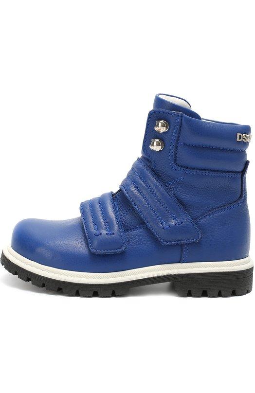 Высокие кожаные ботинки с застежками велькро Dsquared2Ботинки<br><br><br>Российский размер RU: 33<br>Пол: Мужской<br>Возраст: Детский<br>Размер производителя vendor: 33<br>Материал: Кожа натуральная: 100%; Подошва-резина: 100%; Стелька-овчина: 100%;<br>Цвет: Синий