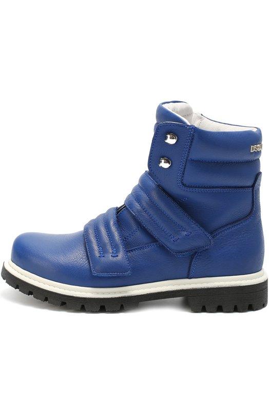 Высокие кожаные ботинки с застежками велькро Dsquared2Ботинки<br><br><br>Российский размер RU: 36<br>Пол: Мужской<br>Возраст: Детский<br>Размер производителя vendor: 36<br>Материал: Кожа натуральная: 100%; Подошва-резина: 100%; Стелька-овчина: 100%;<br>Цвет: Синий