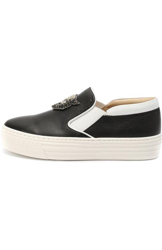 Кожаные слипоны с декором на толстой подошве No. 21Спортивная обувь<br><br><br>Российский размер RU: 29<br>Пол: Женский<br>Возраст: Детский<br>Размер производителя vendor: 29<br>Материал: Кожа натуральная: 100%; Стелька-кожа: 100%; Подошва-резина: 100%;<br>Цвет: Черный