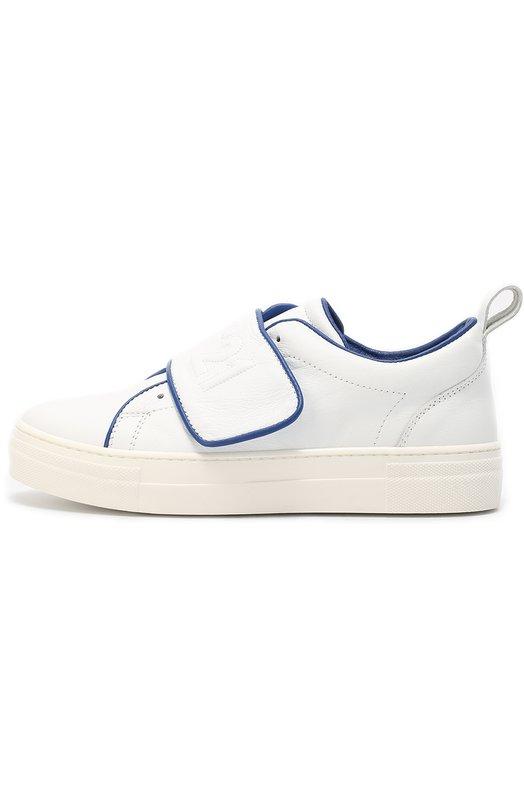 Кожаные кеды с застежкой велькро No. 21Спортивная обувь<br>Белые кеды сшиты из мягкой матовой кожи. Края отделаны узким синим кантом. Широкий ремешок с застежкой велькро украшен вышитым логотипом марки. Модель с отверстиями для шнурков вошла в коллекцию сезона осень-зима 2016 года.<br><br>Российский размер RU: 36<br>Пол: Мужской<br>Возраст: Детский<br>Размер производителя vendor: 36<br>Материал: Кожа натуральная: 100%; Стелька-кожа: 100%; Подошва-резина: 100%;<br>Цвет: Белый