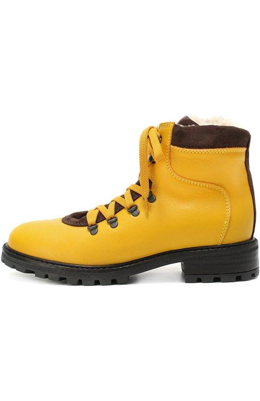 Кожаные ботинки с внутренней отделкой из натуральной овчины Marni 45768/36-40
