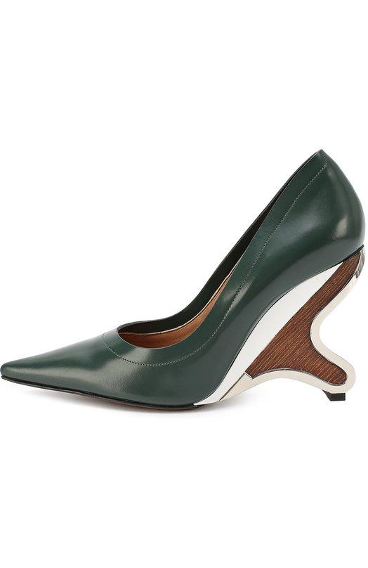 Кожаные туфли на фигурном каблуке MarniТуфли<br>В осенне-зимнюю коллекцию 2016 года вошли зеленые туфли. Модель с удлиненным зауженным мысом выполнена из гладкой матовой кожи. Для создания высокого фигурного каблука мастера бренда использовали легкую древесину и металл серебряного цвета.<br><br>Российский размер RU: 37<br>Пол: Женский<br>Возраст: Взрослый<br>Размер производителя vendor: 37<br>Материал: Кожа натуральная: 100%; Стелька-кожа: 100%; Подошва-кожа: 100%; Подошва-резина: 100%;<br>Цвет: Зеленый