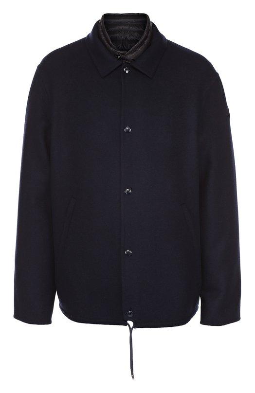 Куртка Vincent из смеси шерсти и кашемира с пуховой подстежкой MonclerКуртки<br>Темно-синяя куртка Vincent вошла в осенне-зимнюю коллекцию 2016 года. Модель состоит из двух слоев: утепленного пуховика и куртки. Пуховик с длинными рукавами и воротником-стойкой, выполнен из прочного текстиля. Куртка с отложным воротником сшита из плотной шерсти с добавлением мягкого кашемира.<br><br>Российский размер RU: 48<br>Пол: Мужской<br>Возраст: Взрослый<br>Размер производителя vendor: 3<br>Материал: Шерсть: 90%; Пух: 90%; Полиамид: 100%; Перо: 10%; Кашемир: 10%;<br>Цвет: Темно-синий