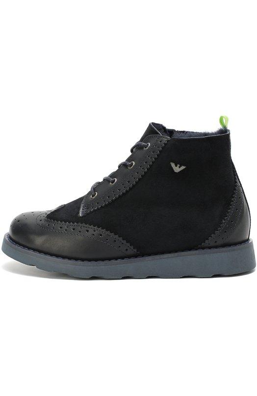 Комбинированные ботинки с брогированием Giorgio Armani 405016/6A015/35-40