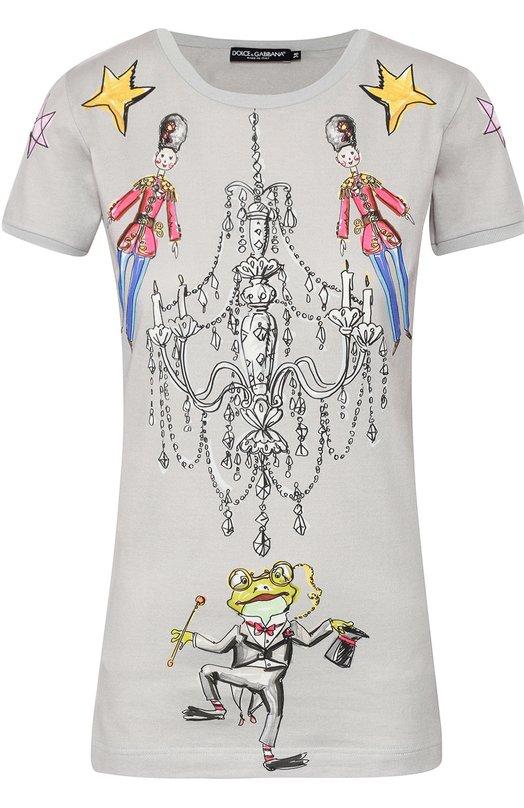 Хлопковая футболка с ярким принтом Dolce & Gabbana 0102/F8H32T/FP7V7