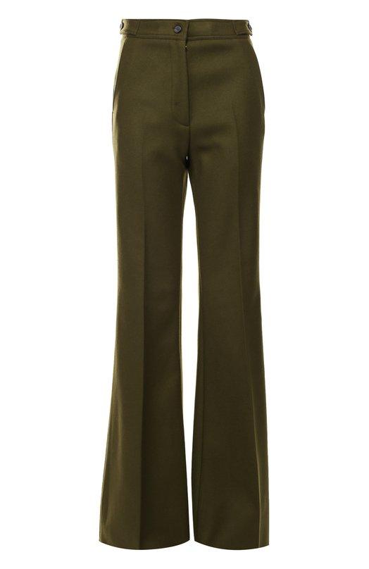 Расклешенные брюки со стрелками и завышенной талией RochasБрюки<br>Зеленые расклешенные брюки со стрелками вошли в коллекцию сезона осень-зима 2016 года. Мастера марки, основанной Марселем Роша, использовали для создания модели с высокой посадкой мягкий шерстяной габардин с добавлением тонкого кашемира.<br><br>Российский размер RU: 46<br>Пол: Женский<br>Возраст: Взрослый<br>Размер производителя vendor: 44<br>Материал: Шерсть: 75%; Кашемир: 5%; Полиамид: 20%; Подкладка-шелк: 100%;<br>Цвет: Зеленый