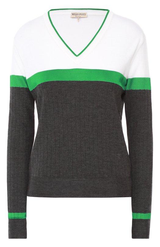 Пуловер прямого кроя с V-образным вырезом и контрастной отделкой Emilio Pucci 66/KP40/66898