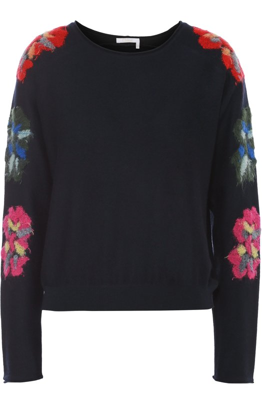 Пуловер с круглым вырезом и цветочной вышивкой Chlo?Свитеры<br>Клэр Уэйт Келлер включила в коллекцию сезона осень-зима 2016 года темно-синий свитер с длинными рукавами, украшенными цветочным узором. Такой же мотив повторяется на плечах. Модель связана из тонкой и мягкой шерсти с добавлением мохера.<br><br>Российский размер RU: 40<br>Пол: Женский<br>Возраст: Взрослый<br>Размер производителя vendor: XS<br>Материал: Шерсть овечья: 85%; Полиамид: 5%; Мохер: 10%;<br>Цвет: Темно-синий
