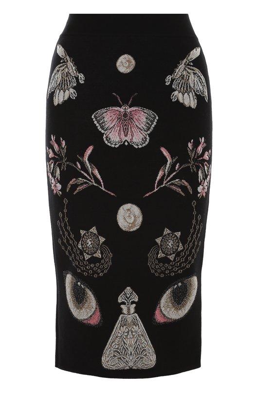 Вязаная юбка-карандаш с контрастными принтом Alexander McQueen 445436/Q1WAA