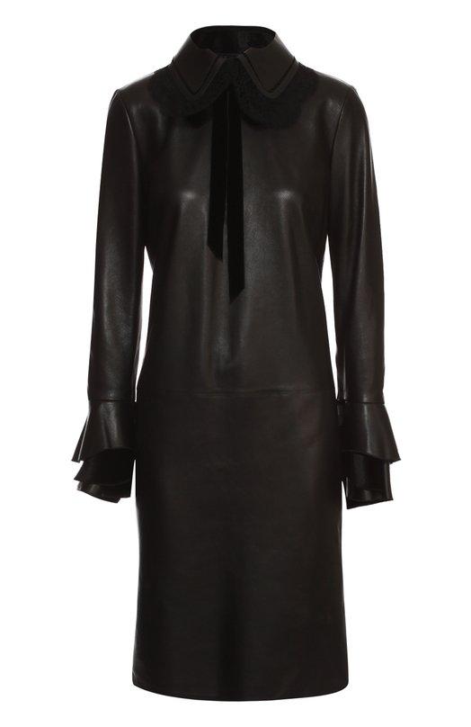 Кожаное платье с отложным воротником и кружевной отделкой Ralph LaurenПлатья<br><br><br>Российский размер RU: 44<br>Пол: Женский<br>Возраст: Взрослый<br>Размер производителя vendor: 6<br>Материал: Подкладка-шелк: 100%; Кожа натуральная: 100%;<br>Цвет: Черный