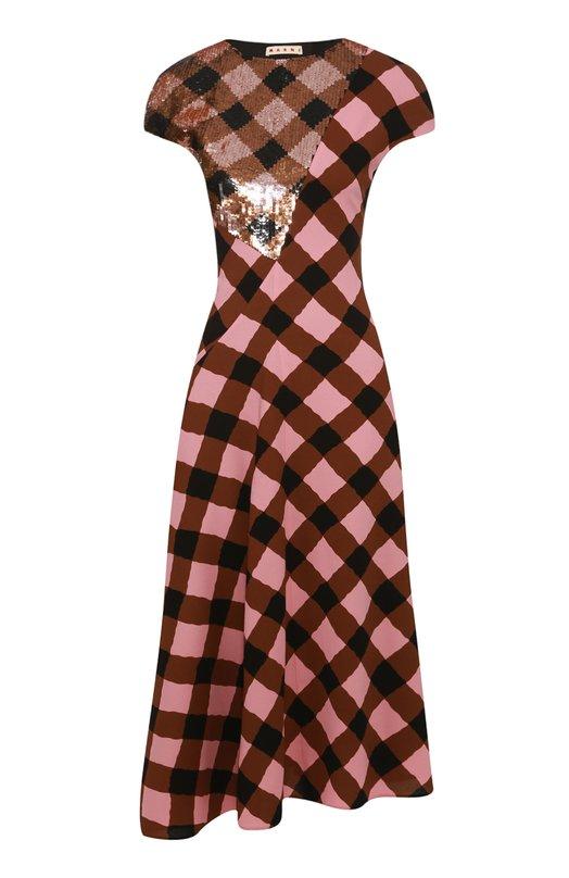 Платье асимметричного кроя в клетку с вышивкой пайетками Marni ABMAU21S17TV494