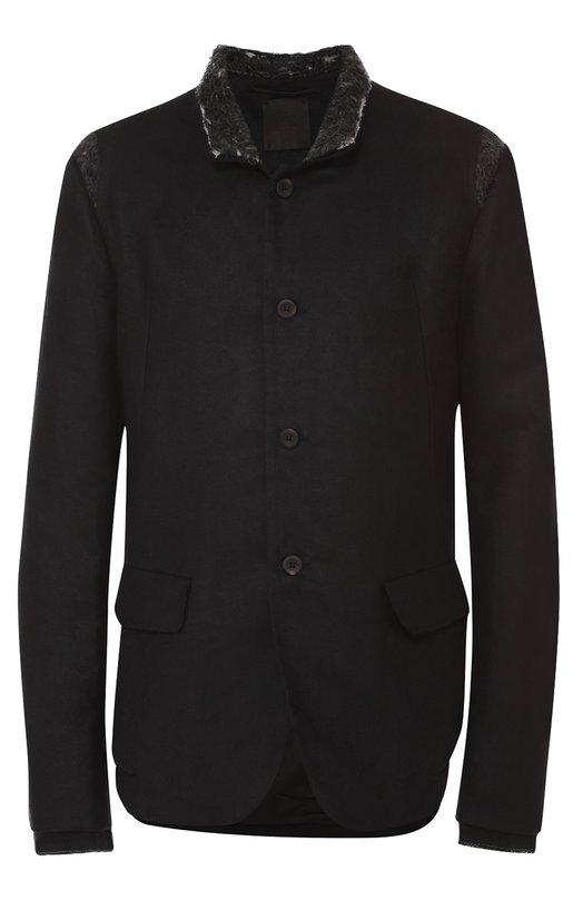 Однобортный пиджак из смеси льна и хлопка с отделкой из шерсти Lost&Found 403.240