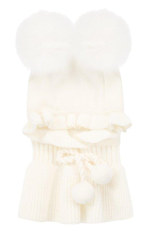Шапка из шерсти меринос с отделкой мехом CatyaГоловные уборы<br><br><br>Пол: Женский<br>Возраст: Детский<br>Размер производителя vendor: I<br>Материал: Шерсть меринос: 100%; Отделка мех./лиса/: 100%;<br>Цвет: Белый