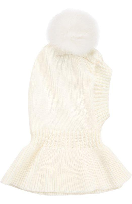 Шапка из шерсти меринос с отделкой мехом CatyaГоловные уборы<br>Для создания белой шапки-шлема использована тонкая мягкая шерсть мериноса. Тонкие волокна такой пряжи хорошо сохраняют тепло и пропускают воздух, поэтому голова не вспотеет.Модель из осенне-зимней коллекции 2016 года украшена объемным помпоном из меха лисы.<br><br>Пол: Женский<br>Возраст: Детский<br>Размер производителя vendor: II<br>Материал: Подкладка-полиэстер: 100%; Шерсть меринос: 100%; Отделка мех./лиса/: 100%;<br>Цвет: Белый