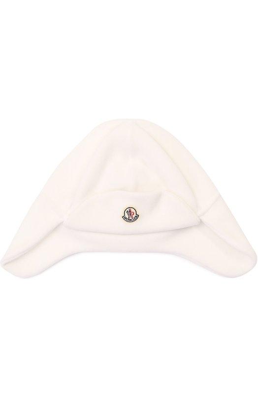 Шапка с логотипом бренда Moncler EnfantАксессуары<br><br><br>Российский размер RU: 32<br>Пол: Женский<br>Возраст: Для малышей<br>Размер производителя vendor: XXS<br>Материал: Полиэстер: 100%;<br>Цвет: Белый