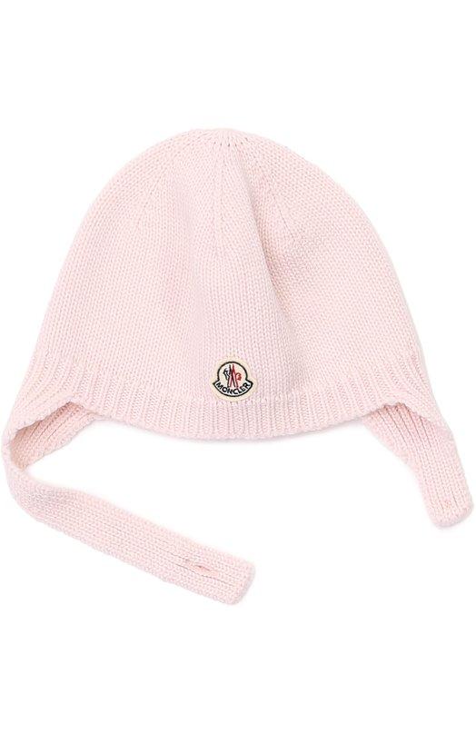 Вязаная шапка из шерсти Moncler EnfantАксессуары<br><br><br>Российский размер RU: 36<br>Пол: Женский<br>Возраст: Для малышей<br>Размер производителя vendor: S<br>Материал: Шерсть: 100%;<br>Цвет: Розовый