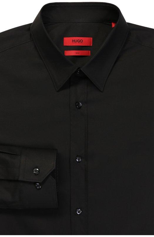 Приталенная сорочка с воротником кент HUGOРубашки<br><br><br>Российский размер RU: 41<br>Пол: Мужской<br>Возраст: Взрослый<br>Размер производителя vendor: 41<br>Материал: Хлопок: 100%;<br>Цвет: Черный