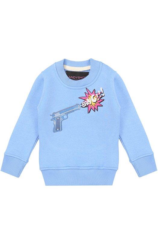 Хлопковый свитшот с вышивкой Candyshop Russia BANG T0024K