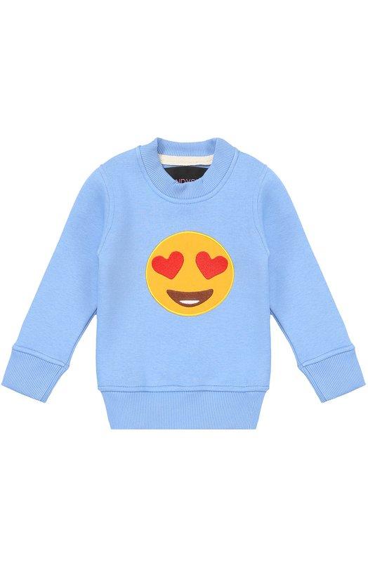 Хлопковый свитшот с нашивкой Candyshop RussiaСвитеры<br><br><br>Размер Years: 4<br>Пол: Мужской<br>Возраст: Детский<br>Размер производителя vendor: 104cm<br>Материал: Хлопок: 100%;<br>Цвет: Голубой