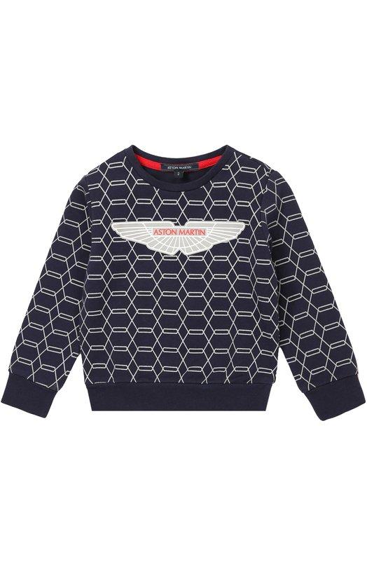 Хлопковый свитшот с принтом Aston MartinСвитеры<br>Синий свитшот из мягкого и эластичного хлопкового материала вошел в коллекцию сезона осень-зима 2016 года. Модель украшена геометрическим принтом, в центре которого ? крупное изображение логотипа марки. Широкие манжеты и пояс дополнены трикотажными резинками.<br><br>Размер Years: 3<br>Пол: Мужской<br>Возраст: Детский<br>Размер производителя vendor: 98-104cm<br>Материал: Хлопок: 95%; Эластан: 5%;<br>Цвет: Синий