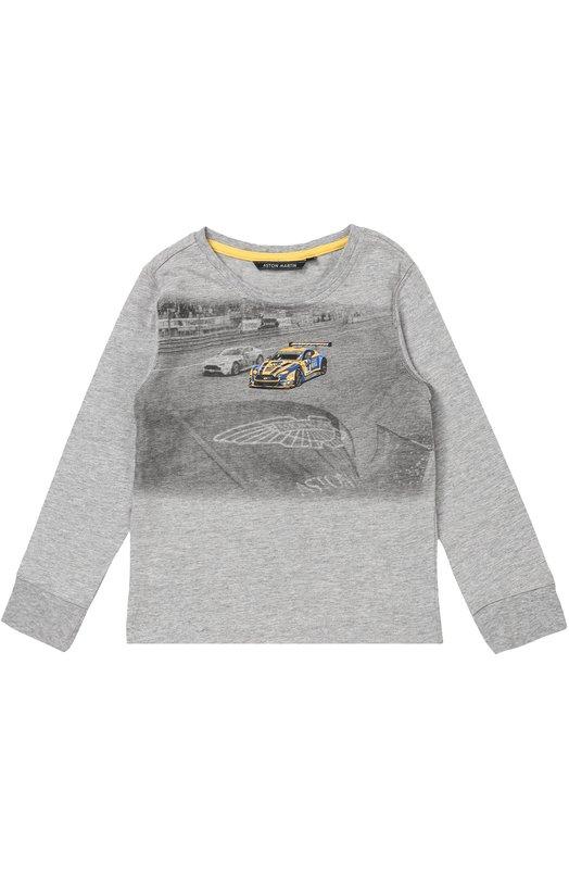 Хлопковый лонгслив с принтом Aston MartinФутболки<br>В осенне-зимнюю коллекцию 2016 года вошел серый лонгслив с круглым вырезом и длинными рукавами. Модель создана из мягкого хлопка джерси. Изделие украшено принтом в виде гоночных машин, сзади – вышитой эмблемой бренда.<br><br>Размер Years: 7<br>Пол: Мужской<br>Возраст: Детский<br>Размер производителя vendor: 122-128cm<br>Материал: Хлопок: 100%;<br>Цвет: Серый