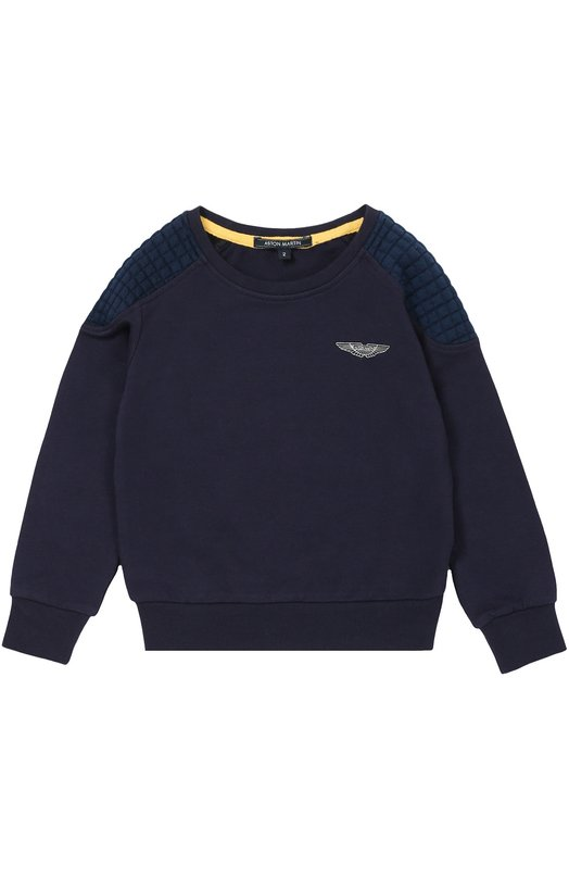 Хлопковый свитшот с логотипом бренда Aston MartinСвитеры<br>В осенне-зимнюю коллекцию 2016 года вошел синий свитшот. Модель сшита из мягкого хлопка с добавлением эластана, поэтому изделие меньше вытягивается. Стеганые вставки на плечах и локтях выполнены из такой же ткани более светлого оттенка.<br><br>Размер Years: 6<br>Пол: Мужской<br>Возраст: Детский<br>Размер производителя vendor: 116-122cm<br>Материал: Хлопок: 95%; Эластан: 5%;<br>Цвет: Синий