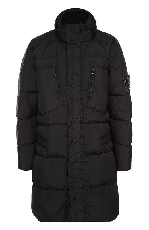 Удлиненный пуховик с воротником-стойкой Stone IslandКуртки<br>Для изготовления черного стеганого пальто использован легкий и ультраплотный нейлоновый репс. Чтобы ткань стала непромокаемой и непродуваемой, ее пропитали изнутри смолами. Пуховик с четырьмя карманами и капюшоном, заправленным в воротник-стойку, вошел в осенне-зимнюю коллекцию 2016 года.<br><br>Российский размер RU: 52<br>Пол: Мужской<br>Возраст: Взрослый<br>Размер производителя vendor: XL<br>Материал: Пух: 80%; Перо: 20%; Полиамид: 100%; Полиуретан: 100%; Подкладка-полиамид: 100%;<br>Цвет: Черный