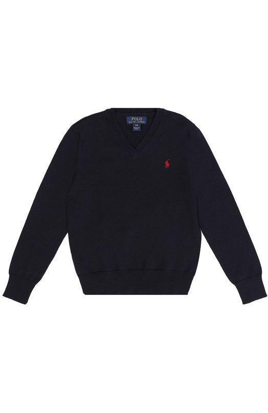 Хлопковый пуловер с логотипом бренда Polo Ralph LaurenСвитеры<br>Темно-синий пуловер изготовлен из тонкой хлопковой пряжи. Модель с защитными вставками на локтях из плотного коричневого вельвета вошла в коллекцию сезона осень-зима 2016 года. V-образный вырез, длинные рукава и низ дополнены трикотажной резинкой.<br><br>Размер Years: 6<br>Пол: Мужской<br>Возраст: Детский<br>Размер производителя vendor: 116-122cm<br>Материал: Хлопок: 100%;<br>Цвет: Темно-синий
