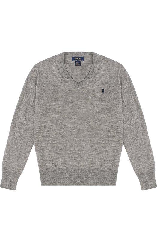 Шерстяной джемпер с логотипом бренда Polo Ralph LaurenСвитеры<br><br><br>Размер Years: 10<br>Пол: Мужской<br>Возраст: Детский<br>Размер производителя vendor: 140-146cm<br>Материал: Шерсть: 100%;<br>Цвет: Серый