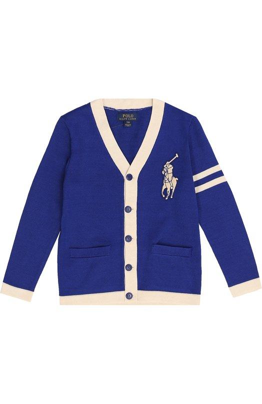 Хлопковый кардиган с нашивкой и контрастным кантом Polo Ralph LaurenКардиганы<br><br><br>Размер Years: 14<br>Пол: Мужской<br>Возраст: Детский<br>Размер производителя vendor: 158cm<br>Материал: Хлопок: 100%;<br>Цвет: Синий