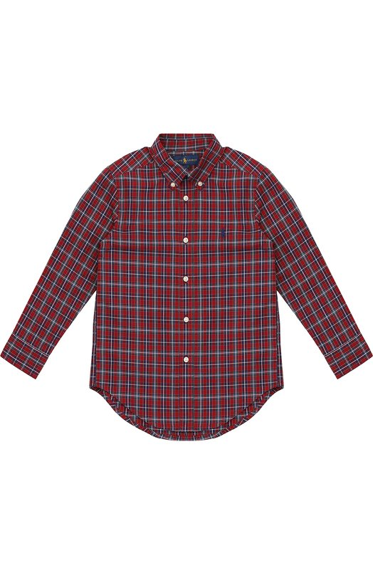 Хлопковая рубашка в клетку с воротником button down Polo Ralph Lauren K04/325F6/325F6