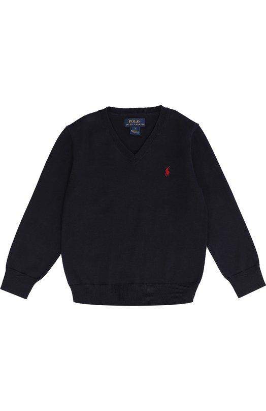 Хлопковый пуловер с логотипом бренда Polo Ralph LaurenСвитеры<br>Темно-синий пуловер из гладкой хлопковой пряжи вошел в осенне-зимнюю коллекцию 2016 года. Длинные рукава дополнены защитными вставками из мягкого вельвета на локтях. Модель с V-образным вырезом украшена вышитым игроком в поло.<br><br>Размер Years: 5<br>Пол: Мужской<br>Возраст: Детский<br>Размер производителя vendor: 110-116cm<br>Материал: Хлопок: 100%;<br>Цвет: Темно-синий