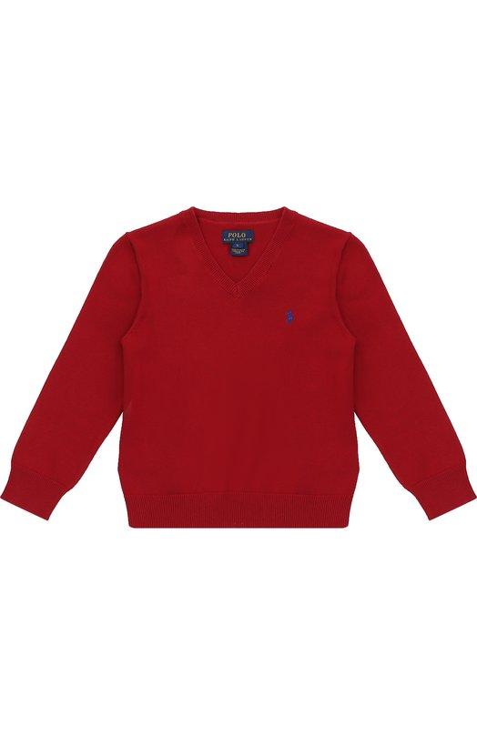 Хлопковый пуловер с логотипом бренда Polo Ralph LaurenСвитеры<br>Мастера бренда создали пуловер из тонкого хлопка красного цвета. V-образный вырез, длинные рукава и низ дополнены трикотажной резинкой. Защитные вставки на локтях выполнены из прочного темно-коричневого вельвета. Модель вошла в осенне-зимнюю коллекцию 2016 года.<br><br>Размер Years: 5<br>Пол: Мужской<br>Возраст: Детский<br>Размер производителя vendor: 110-116cm<br>Материал: Хлопок: 100%;<br>Цвет: Красный