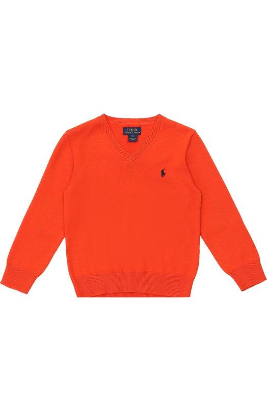 Хлопковый пуловер с логотипом бренда Polo Ralph LaurenСвитеры<br>Оранжевый пуловер из осенне-зимней коллекции 2016 года украшает на груди вышитый игрок в поло. Модель с V-образным вырезом и длинными рукавами, дополненными защитными вставками из мягкого вельвета на локтях, связана из гладкой хлопковой пряжи.<br><br>Размер Years: 6<br>Пол: Мужской<br>Возраст: Детский<br>Размер производителя vendor: 116-122cm<br>Материал: Хлопок: 100%;<br>Цвет: Оранжевый