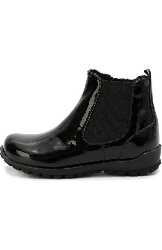 Лаковые челси с ремешком Dolce &amp; GabbanaБотинки<br>Черные полусапоги вошли в осенне-зимнюю коллекцию 2016 года. Обувь с круглым мысом и на широкой подошве с протектором выполнена из лаковой кожи. С внешней стороны модель дополнена эластичной вставкой, как у челси, с внутренней – молнией.<br><br>Российский размер RU: 21<br>Пол: Женский<br>Возраст: Детский<br>Размер производителя vendor: 21<br>Материал: Кожа натуральная: 100%; Подошва-резина: 100%; Стелька-овчина: 100%;<br>Цвет: Черный