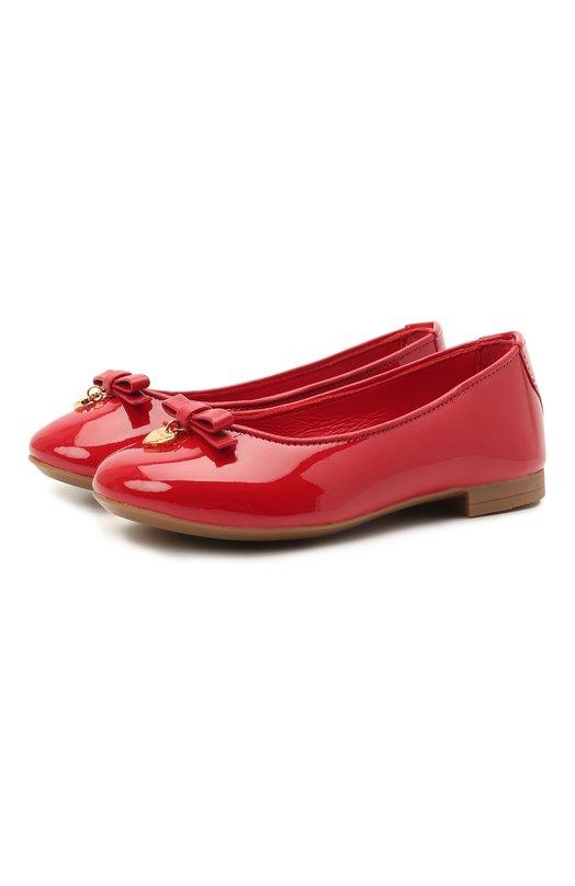Лаковые балетки с бантом и подвеской Dolce & Gabbana 0132/D10341/A1328/19-28