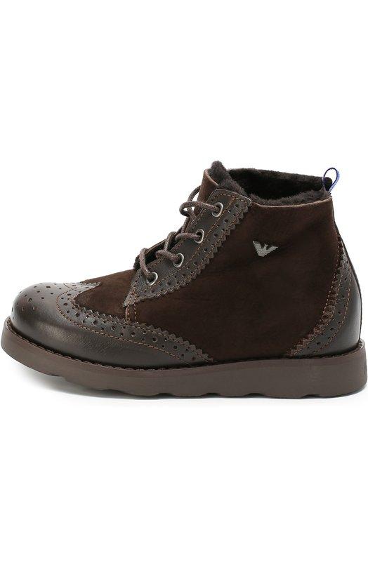 Комбинированные ботинки с брогированием Giorgio Armani 405016/6A015/28-34