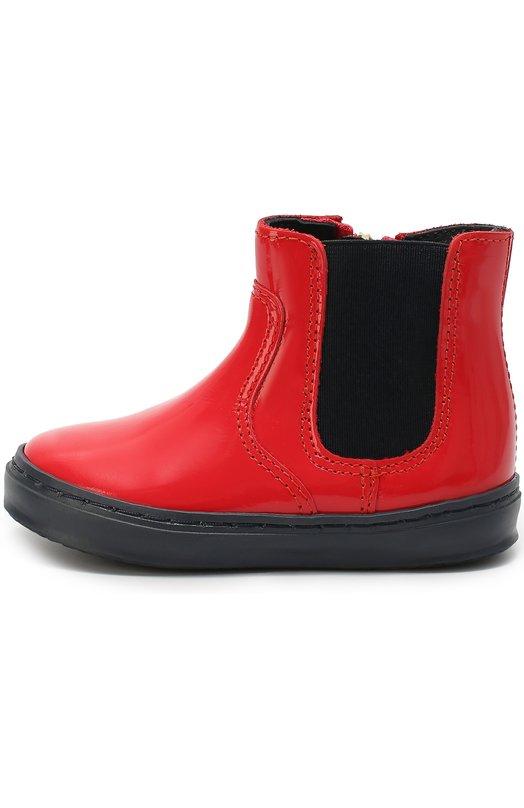 Кожаные челси на контрастной подошве Giorgio ArmaniБотинки<br><br><br>Российский размер RU: 26<br>Пол: Женский<br>Возраст: Детский<br>Размер производителя vendor: 26<br>Материал: Кожа натуральная: 100%; Стелька-кожа: 100%; Подошва-резина: 100%;<br>Цвет: Красный