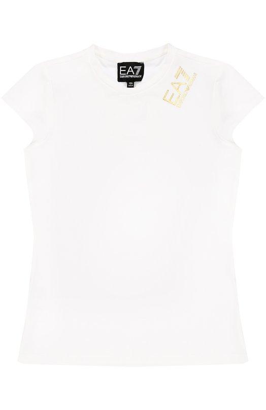 Футболка без рукавов с логотипом бренда Ea 7Футболки<br><br><br>Размер Years: 6<br>Пол: Женский<br>Возраст: Детский<br>Размер производителя vendor: 116-122cm<br>Материал: Хлопок: 95%; Эластан: 5%;<br>Цвет: Белый