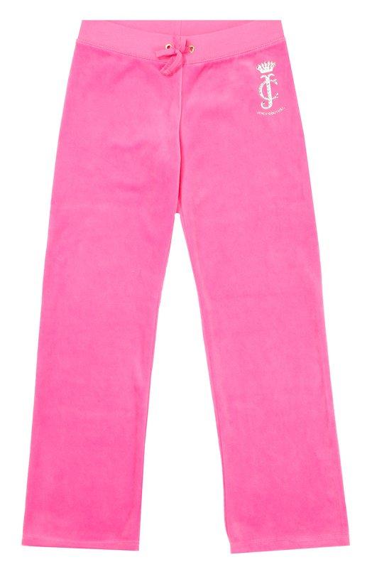Велюровые брюки с логотипом бренда Juicy CoutureСпорт<br><br><br>Размер Years: 8<br>Пол: Женский<br>Возраст: Детский<br>Размер производителя vendor: 128-134cm<br>Материал: Хлопок: 78%; Полиэстер: 22%;<br>Цвет: Розовый
