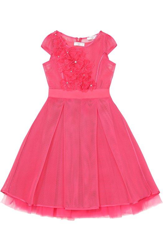 Приталенное платье с цветочной отделкой Monnalisa 777909RA/7962