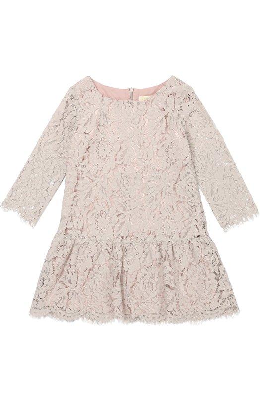 Кружевной платье с оборкой и меховым воротником Monnalisa 718915/8963/4-10