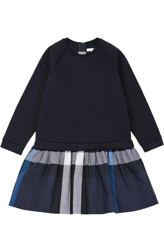 Платье с длинным рукавом и юбкой в клетку BurberryПлатья<br><br><br>Размер Years: 8<br>Пол: Женский<br>Возраст: Детский<br>Размер производителя vendor: 128-134cm<br>Материал: Хлопок: 100%; Подкладка-хлопок: 100%;<br>Цвет: Темно-синий