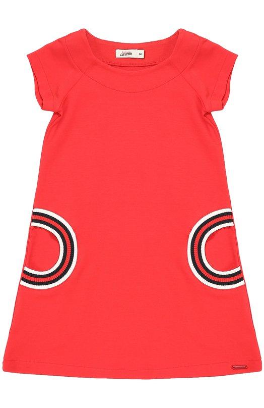 Платье прямого кроя с контрастной отделкой Jean Paul GaultierПлатья<br><br><br>Размер Years: 5<br>Пол: Женский<br>Возраст: Детский<br>Размер производителя vendor: 110-116cm<br>Материал: Вискоза: 68%; Эластан: 5%; Полиамид: 27%;<br>Цвет: Красный
