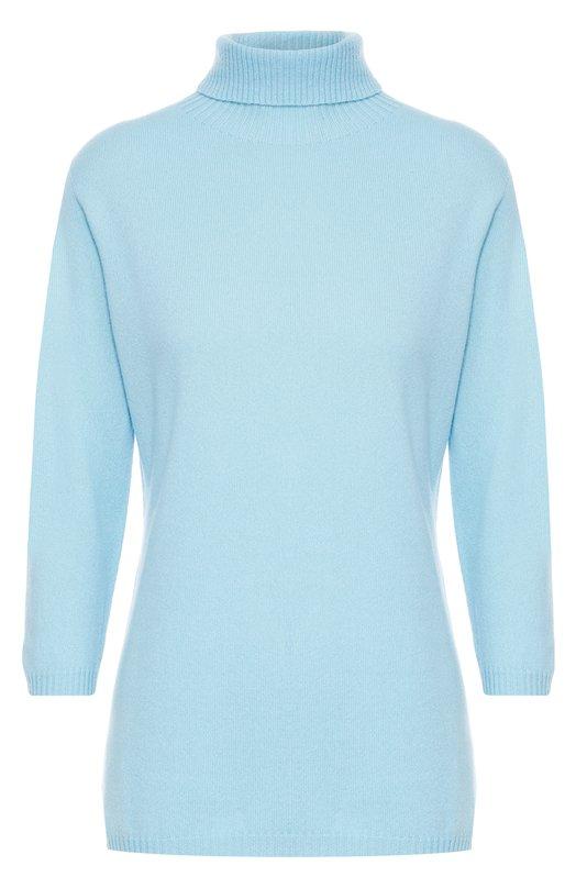 Кашемировый свитер с высоким воротником и укороченным рукавом EscadaСвитеры<br><br><br>Российский размер RU: 40<br>Пол: Женский<br>Возраст: Взрослый<br>Размер производителя vendor: XS<br>Материал: Кашемир: 100%; Кристаллы Сваровски: 100%;<br>Цвет: Голубой