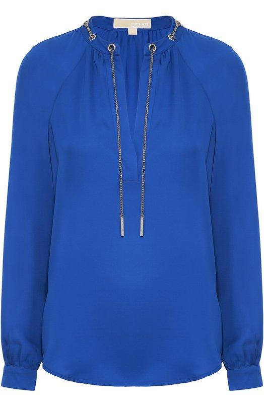 Шелковая блуза с декоративной отделкой MICHAEL Michael Kors MU54KAKVY0