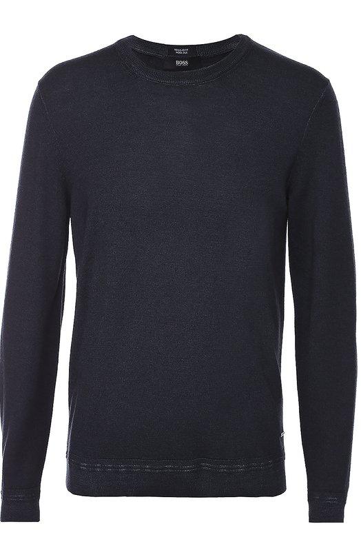 Джемпер с круглым вырезом из смеси шерсти и шелка BOSSСвитеры<br>Темно-синий облегающий пуловер связан из тонкой шерстяной пряжи с шелковистой текстурой. Модель с круглой горловиной вошла в коллекцию сезона осень-зима 2016 года. Советуем носить с брюками, полупальто и ботинками черного цвета.<br><br>Российский размер RU: 50<br>Пол: Мужской<br>Возраст: Взрослый<br>Размер производителя vendor: L<br>Материал: Шерсть: 80%; Шелк: 20%;<br>Цвет: Темно-синий